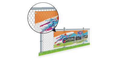 Mesh Banners - Mesh Banners are printed in full color on one side of 8oz Mesh Banner with sizes ranging from 2' x 2' to 10' x 150'. They are built to stand up to the elements, though they do wear with time. We offer a variety of finishing options, including hemming, grommets, and pole pockets.