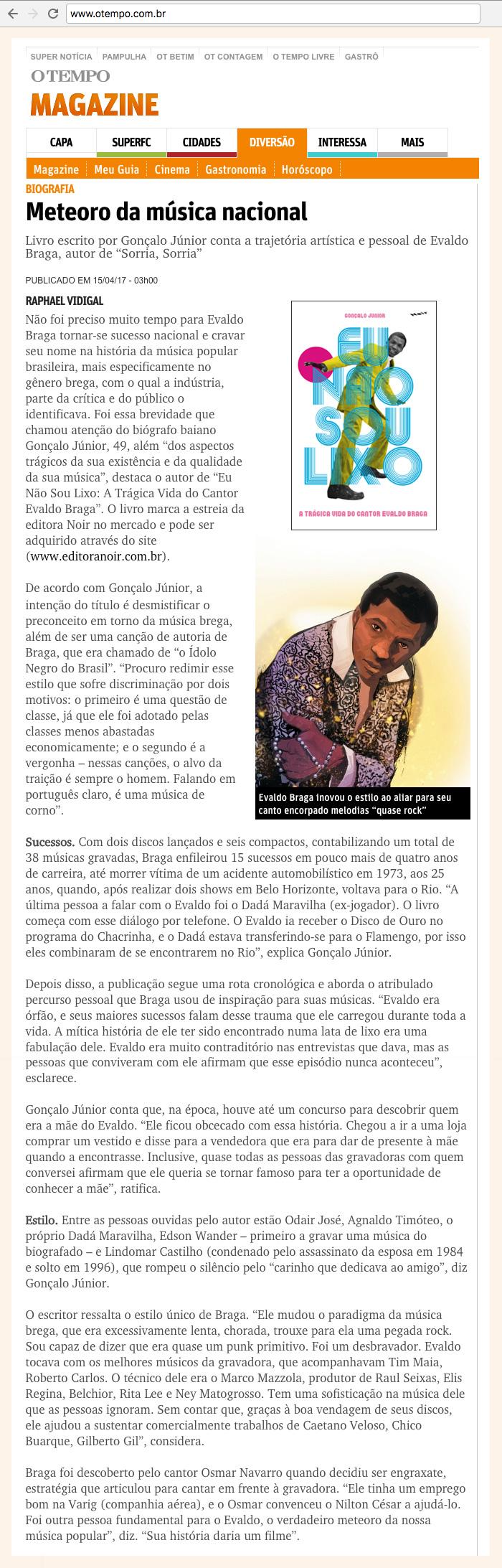 O Tempo  Belo Horizonte – 15/4/2017