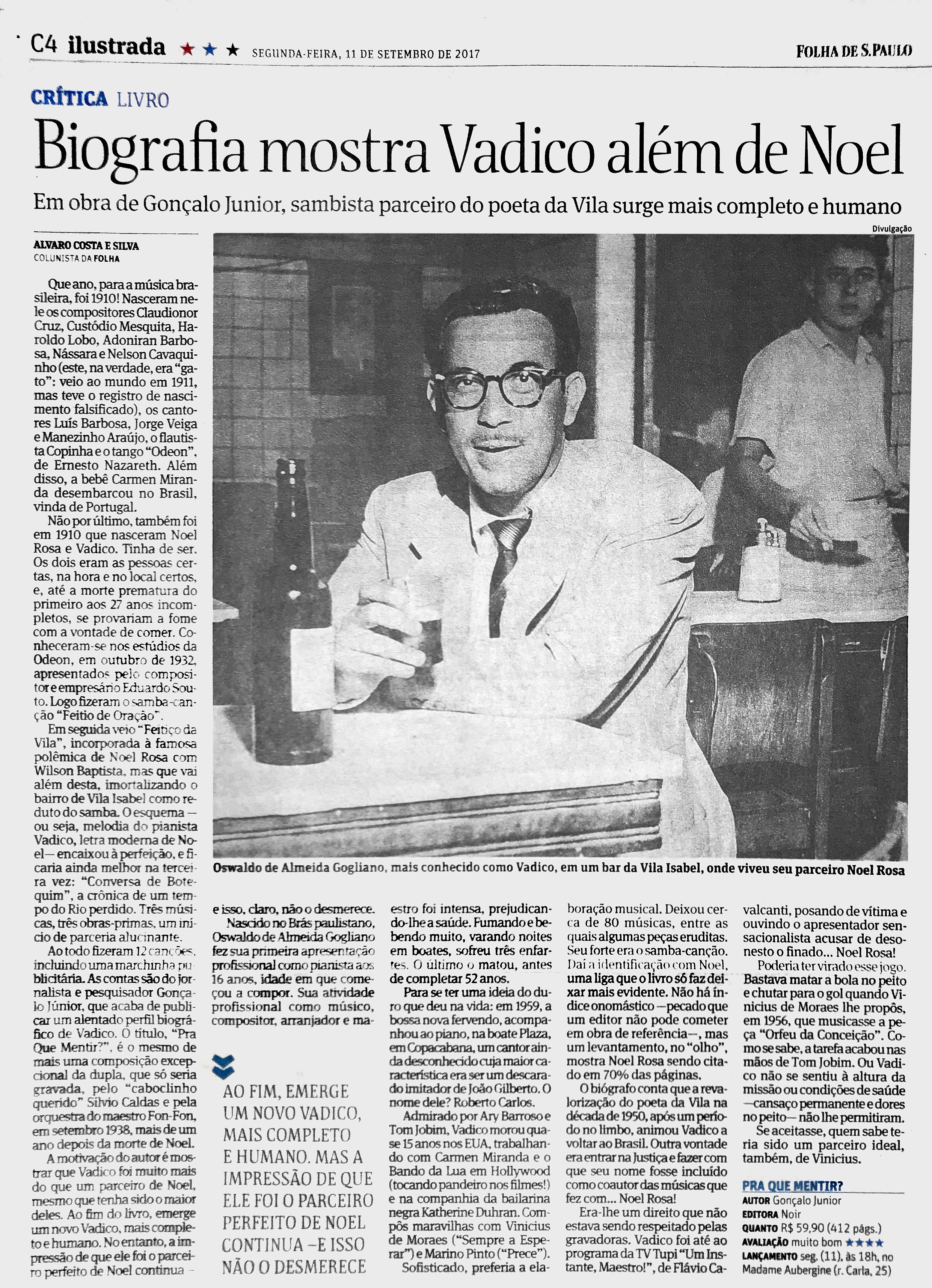 Folha de São Paulo  São Paulo – 11/9/2017