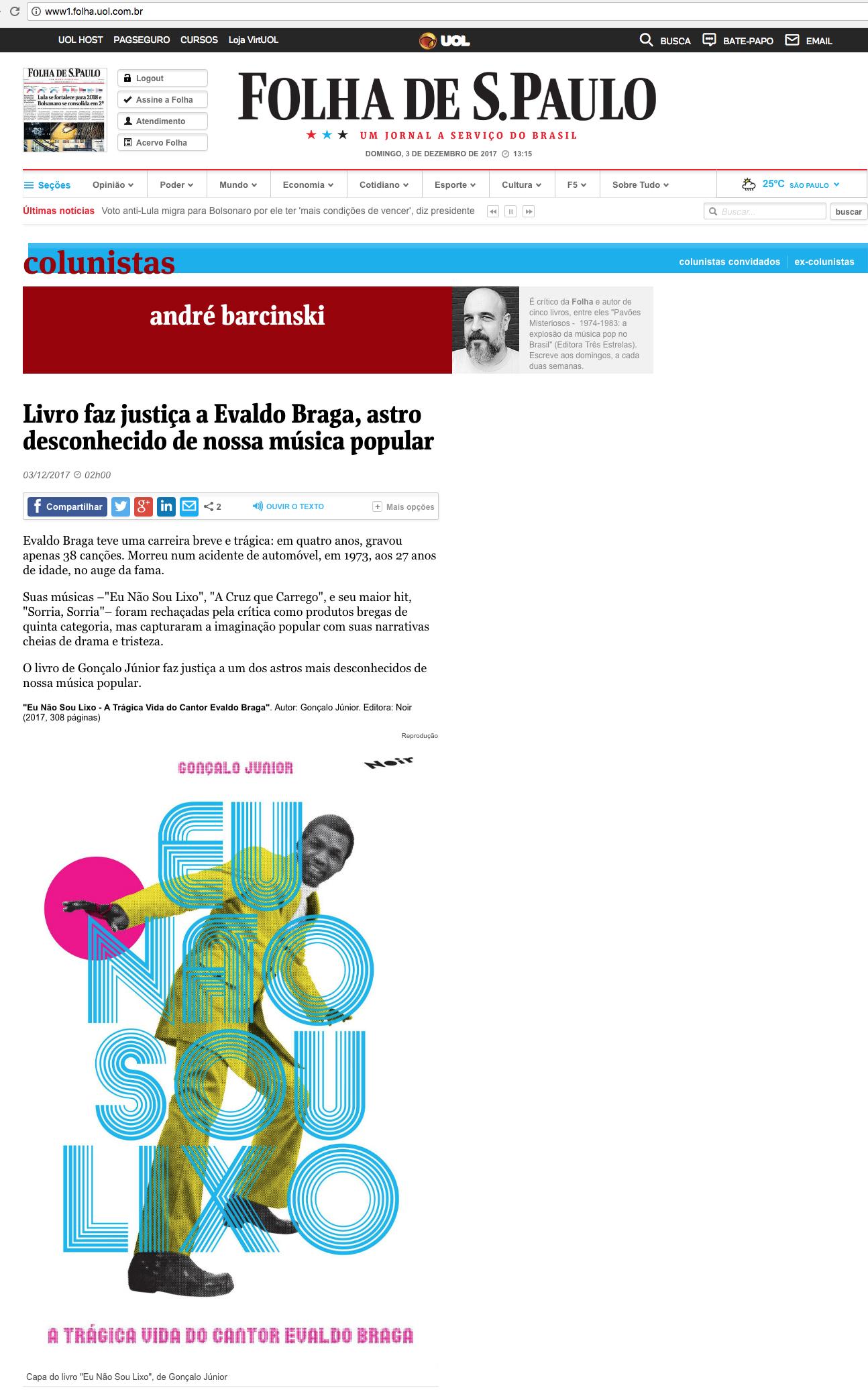 Folha de São Paulo  São Paulo – 2/12/2017