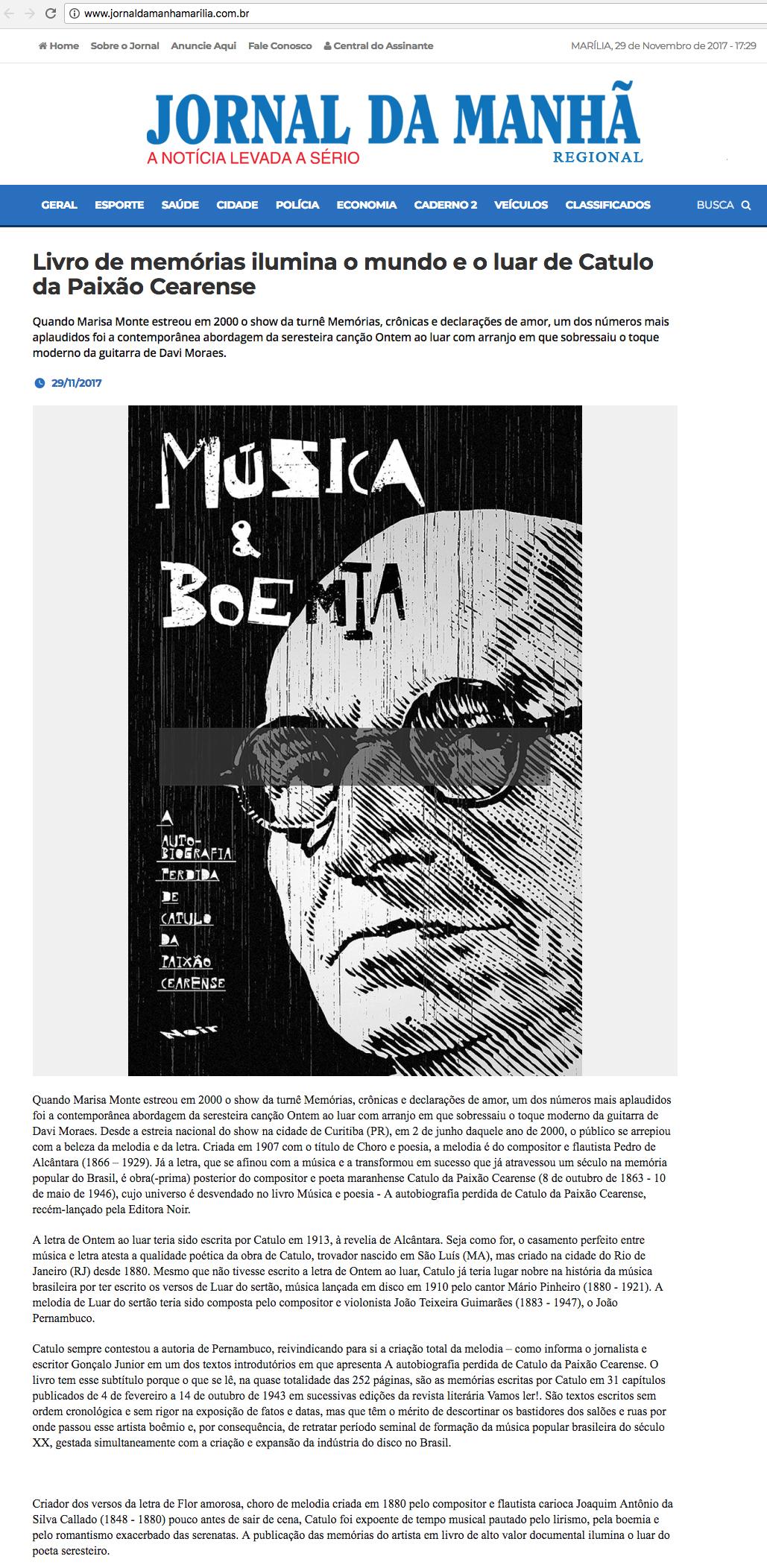 Jornal da Manhã  Marília – 29/11/2017