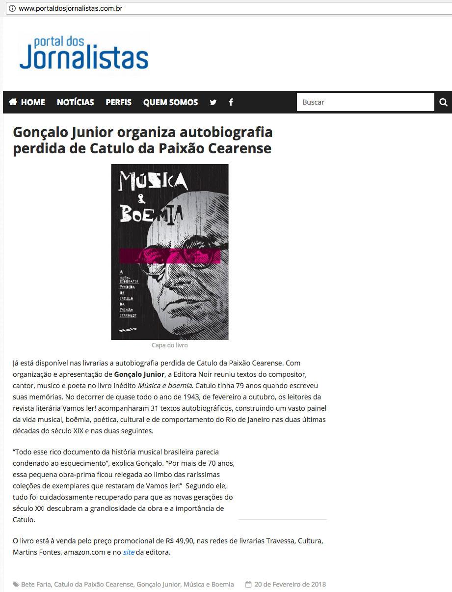 Portal dos Jornalistas  São Paulo – 20/2/2018