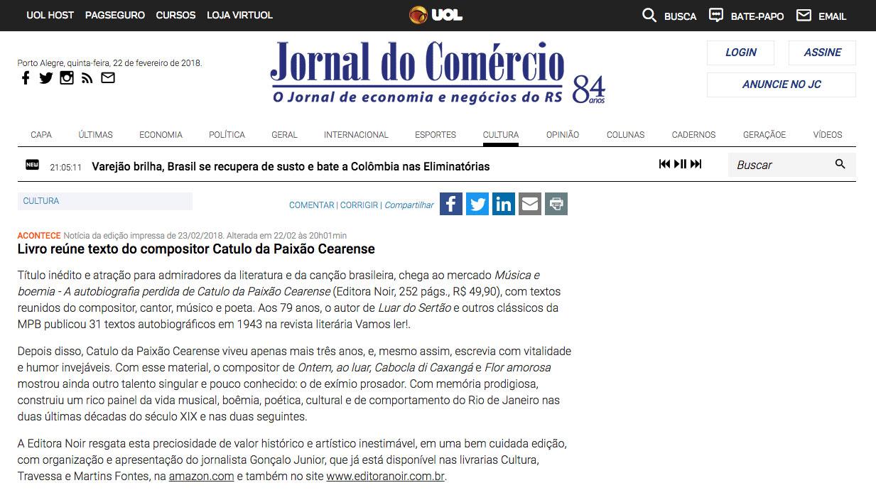 Jornal do Comércio  Rio de Janeiro – 22/2/2018