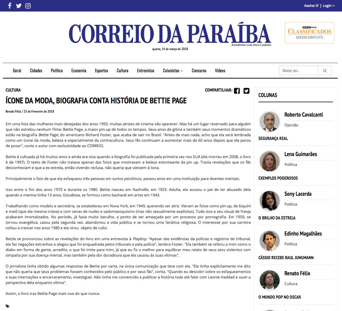 Correio da Paraíba  João Pessoa – 14/2/2018