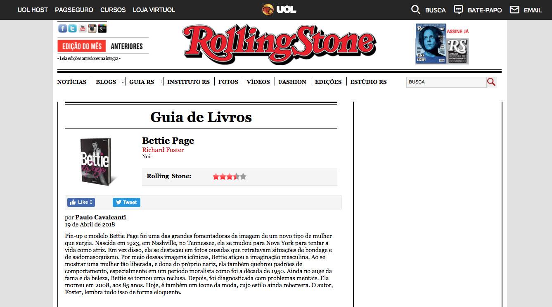 Revista Rolling Stone  São Paulo – 19/4/2018