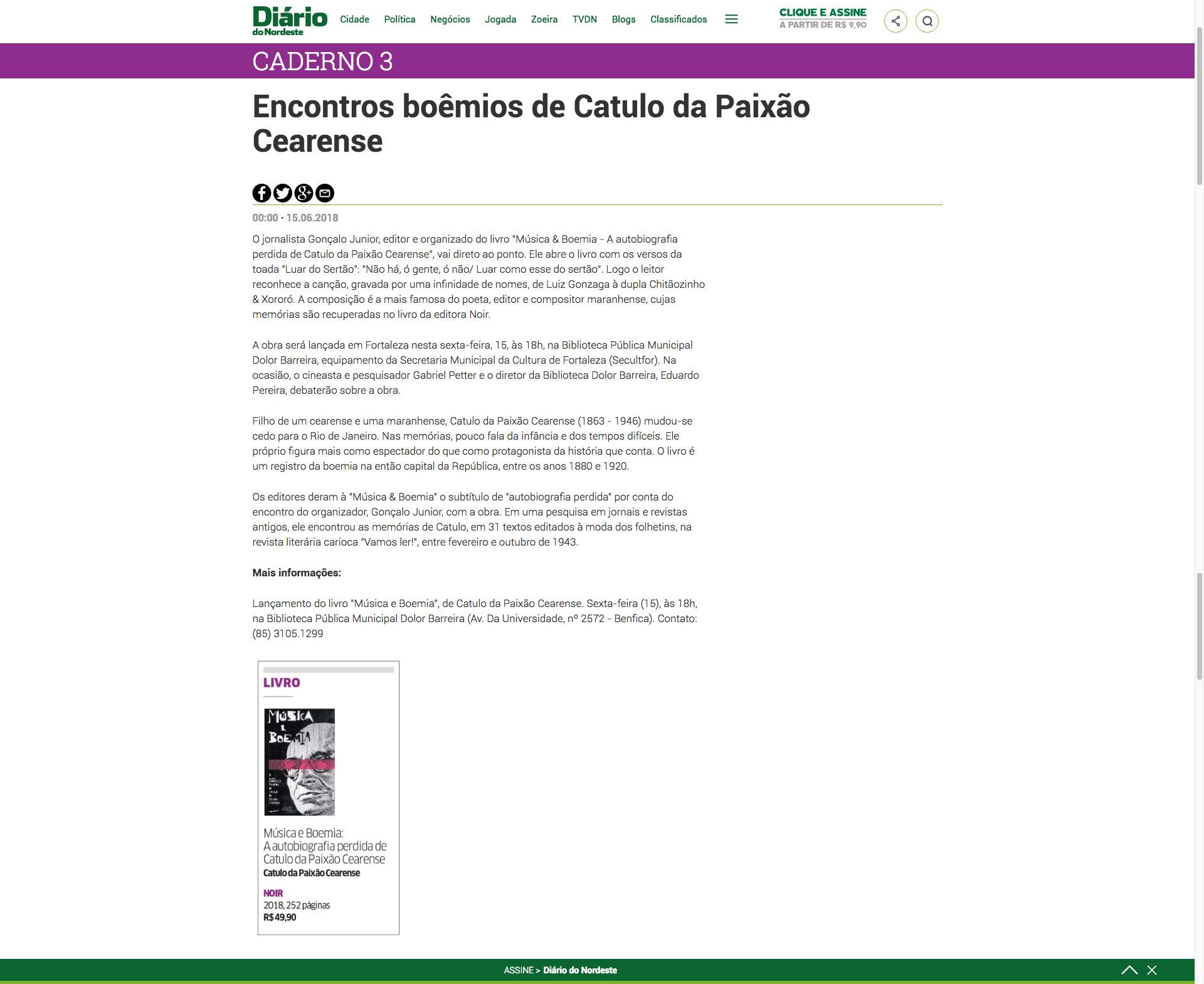 Diário do Nordeste  Fortaleza – 15/6/2018