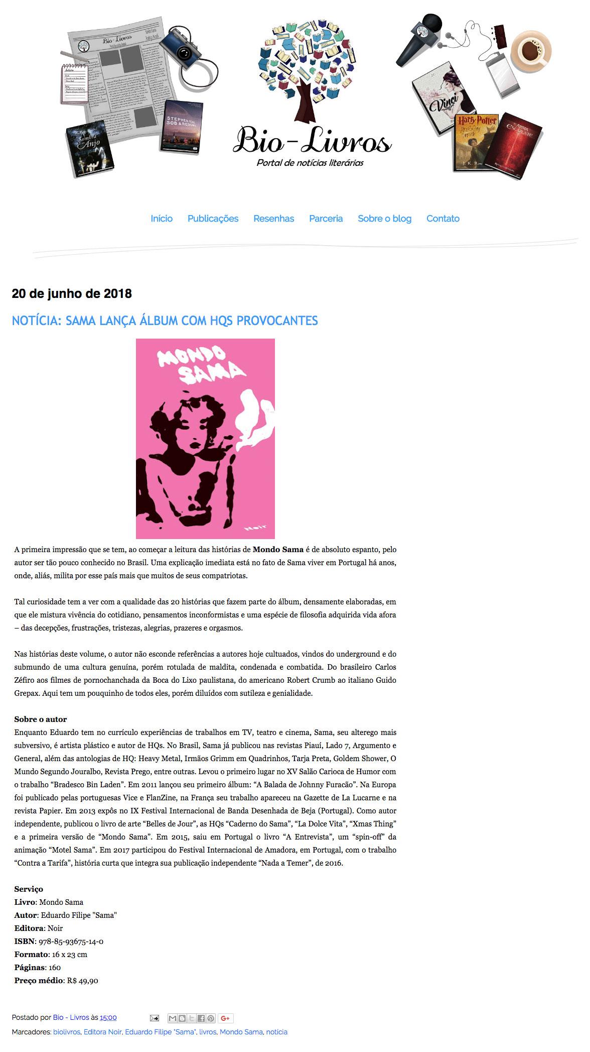 Bio Livros  São Paulo – 20/6/2018