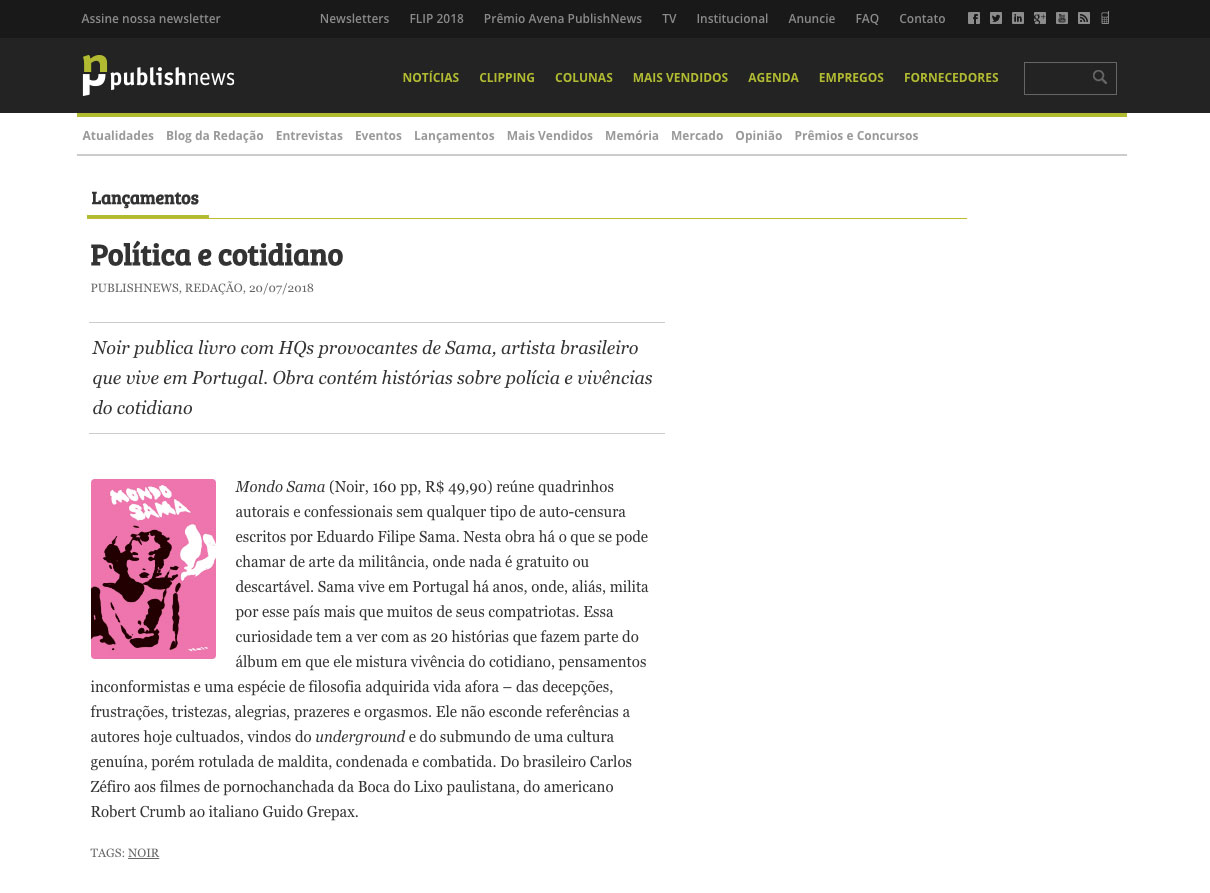 Publishnews  São Paulo – 20/7/2018