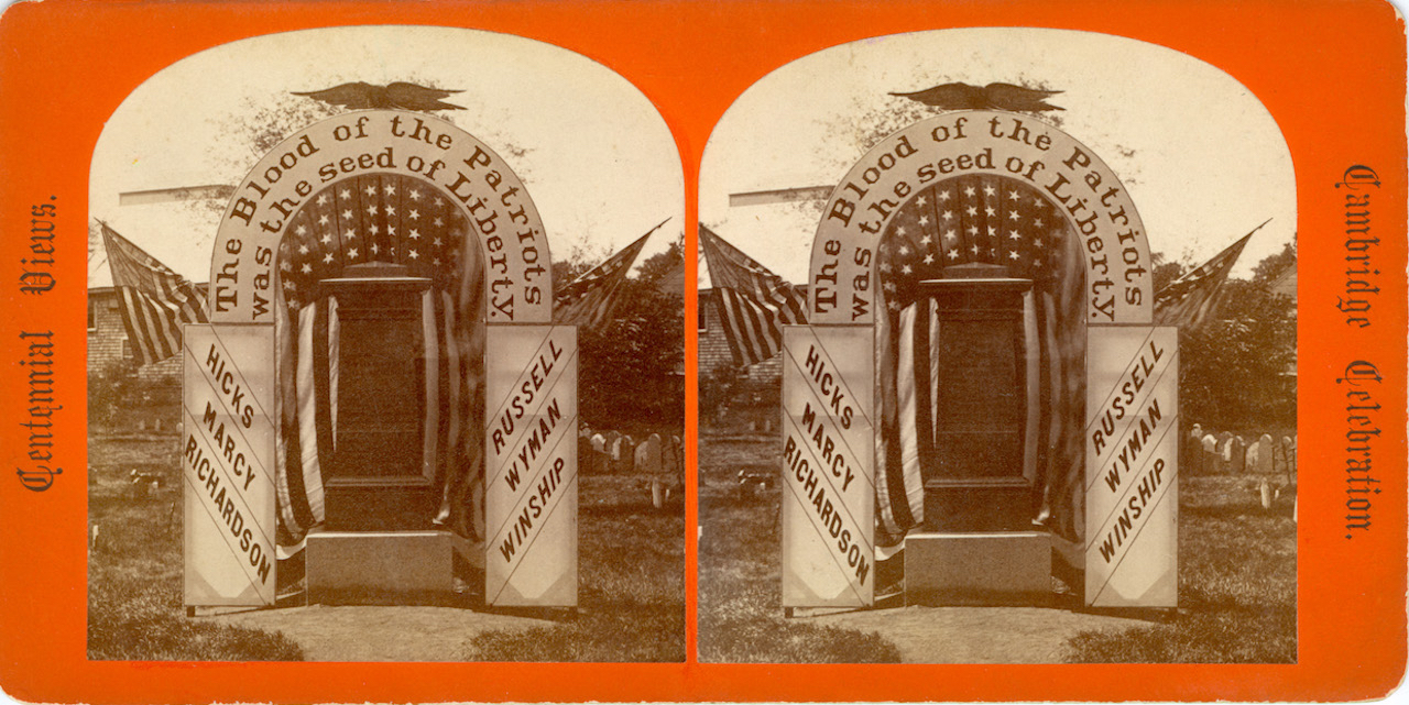 1875 stereograph of the Revolutionary War Monument and Cambridge Common