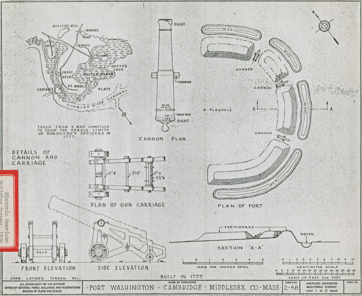 Map and diagrams of Fort Washington