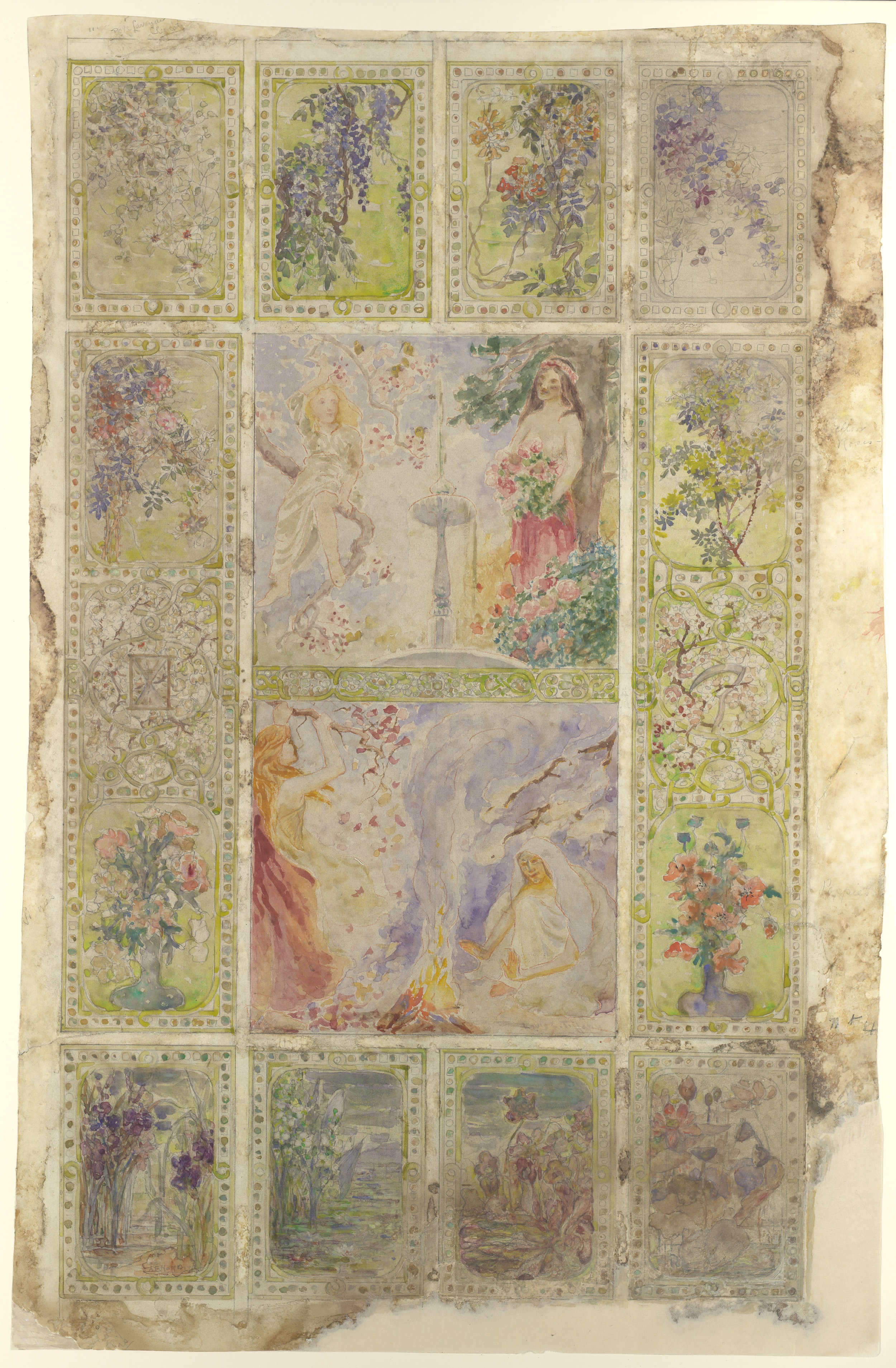 'Four Seasons', ca. 1897-1899. Louis Comfort Tiffany (American, New York 1848–1933 New York) and Agnes F. Northrop (1857–1953). Tiffany Glass and Decorating Company (American, 1892–1902). The Metropolitan Museum of Art, accession number 67.654.317. Purchase, Walter Hoving and Julia T. Weld Gifts and Dodge Fund, 1967.
