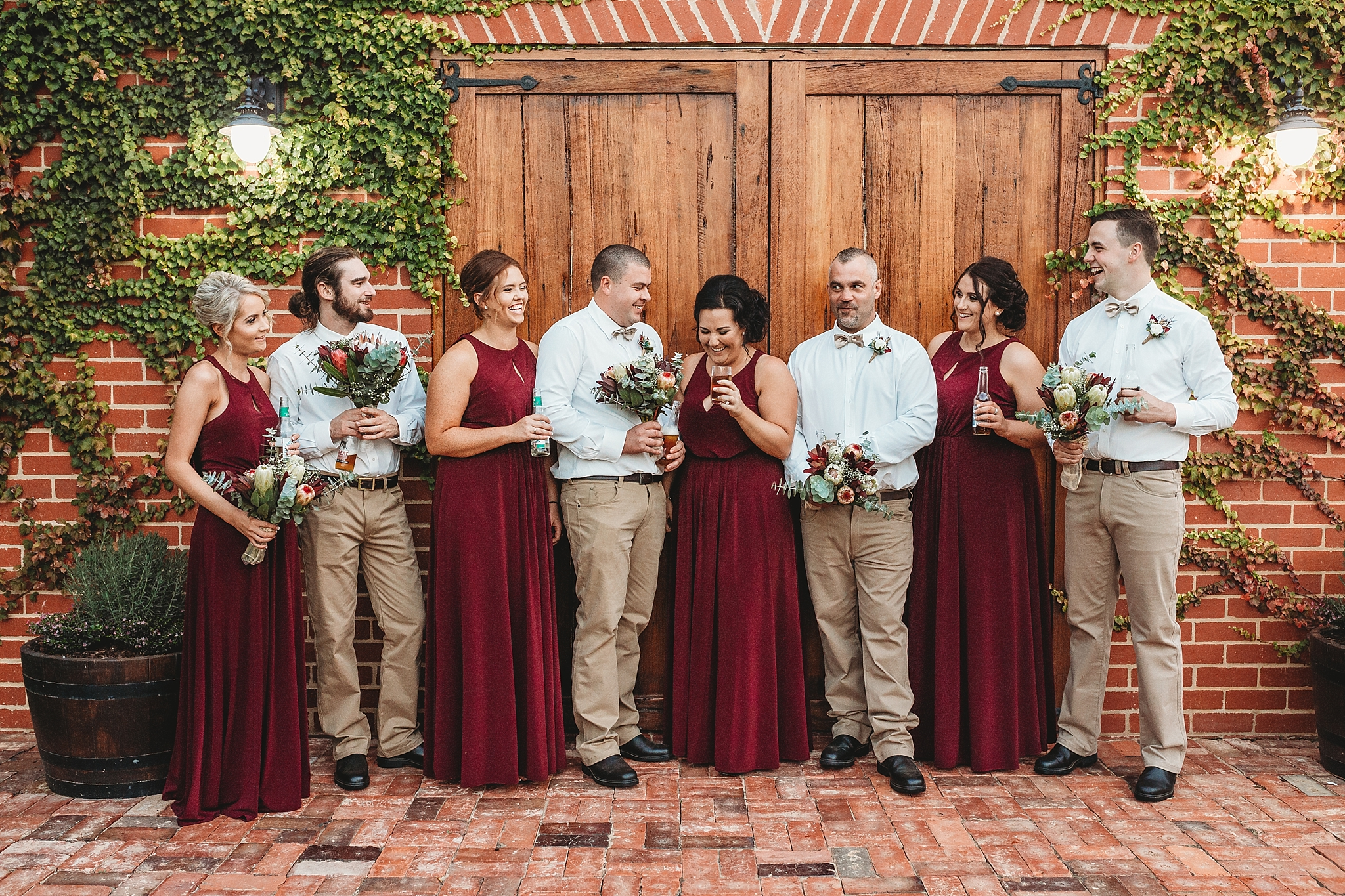 bridal party at olive houses barn