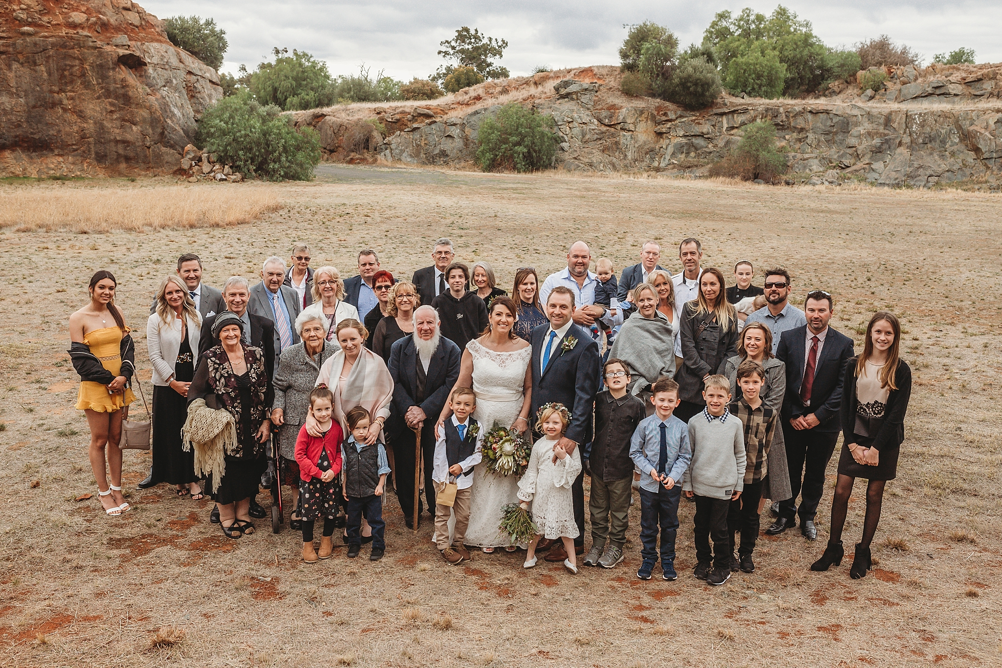 wedding group photo at dookie quarry
