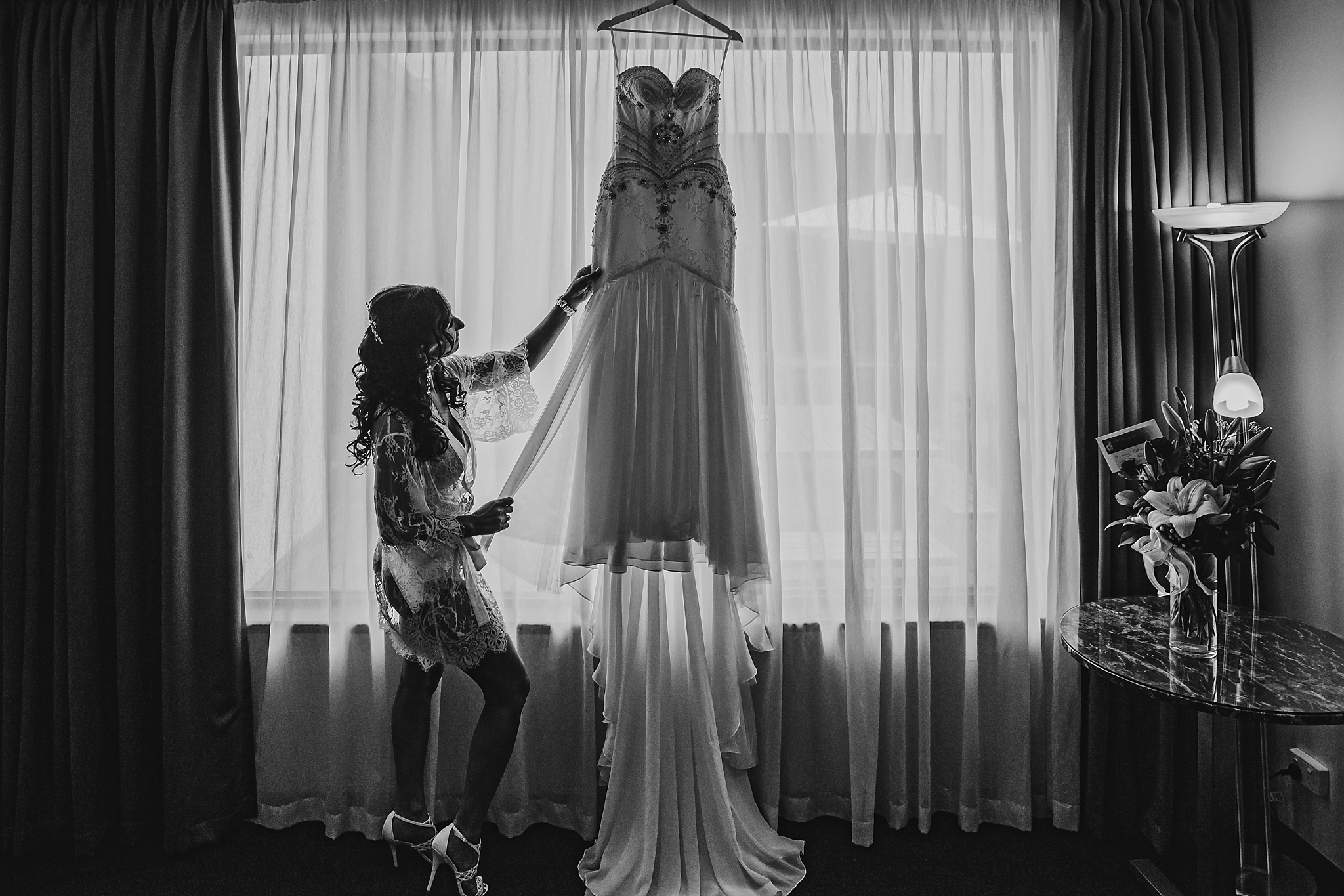 bride with wedding dress at brighton savoy