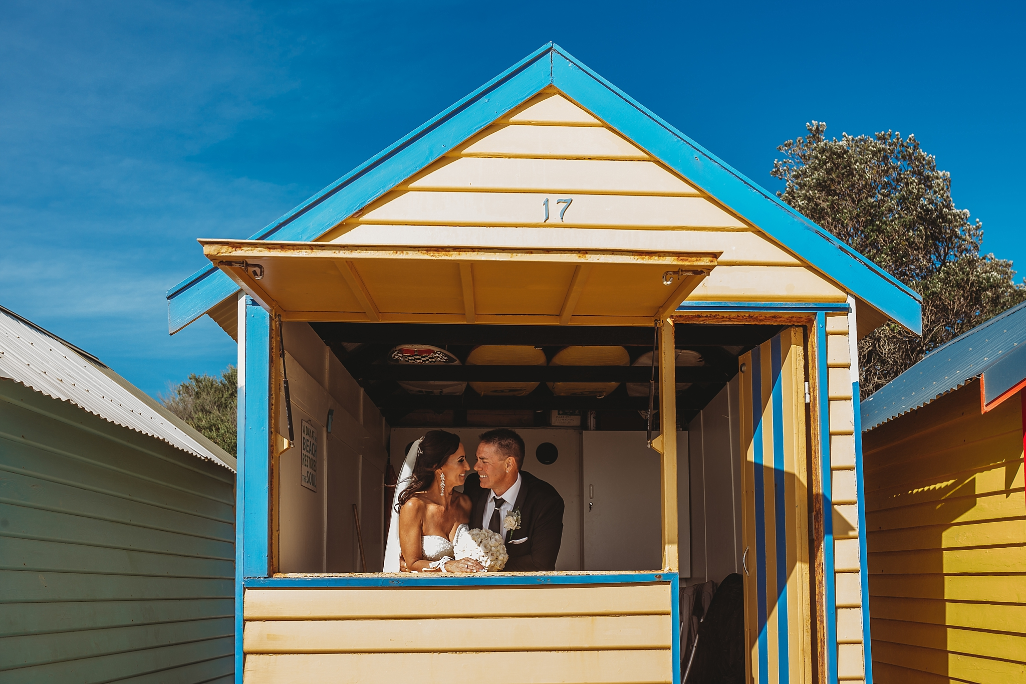 bride and groom in brighton beach box
