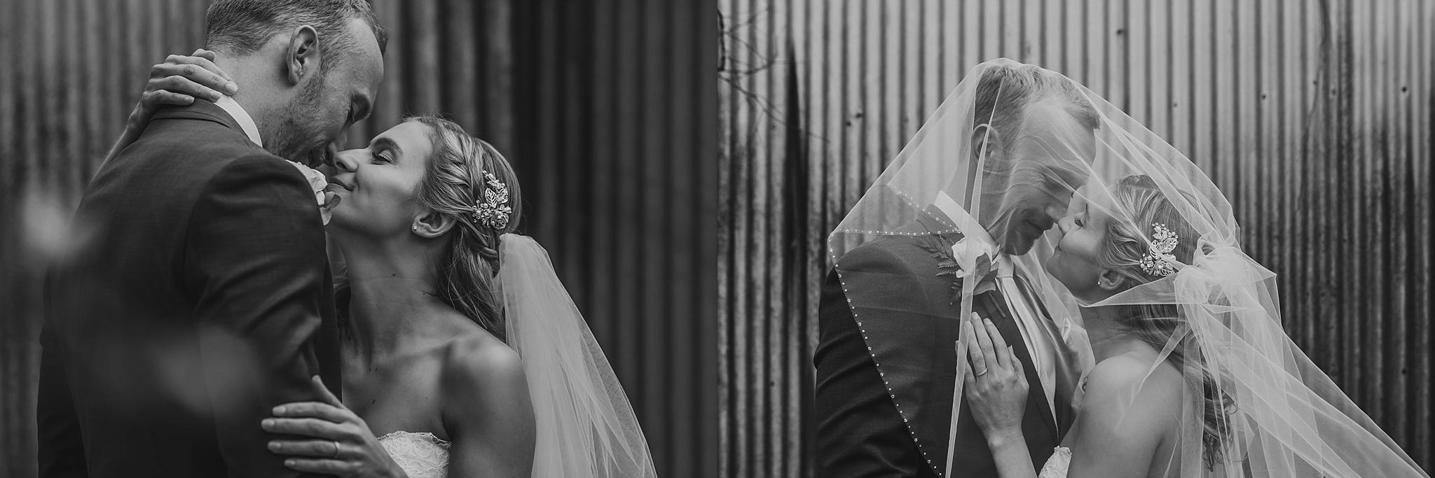 bride and groom veil shots