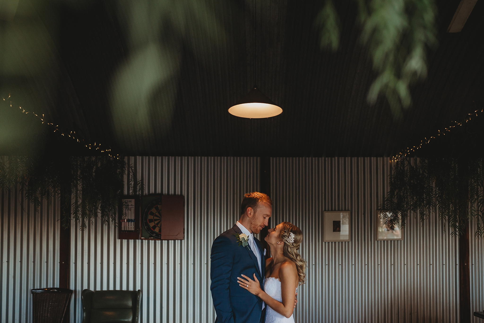 bride and groom in dairy