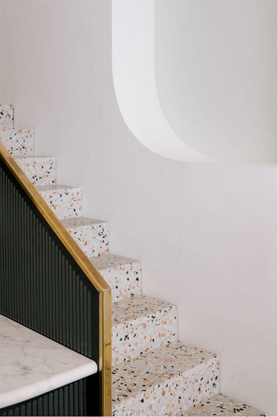 Terazzo staircase featured at  CAFE PARADISO