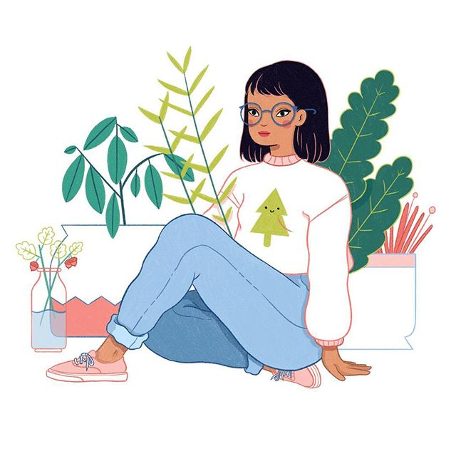 Hey guys! It's @meganpelto 😊 I'll be sharing some of my work on here and I wanted to start with with one of my recent favorites, this plant lady! Prints are also now available through my shop😊🌿