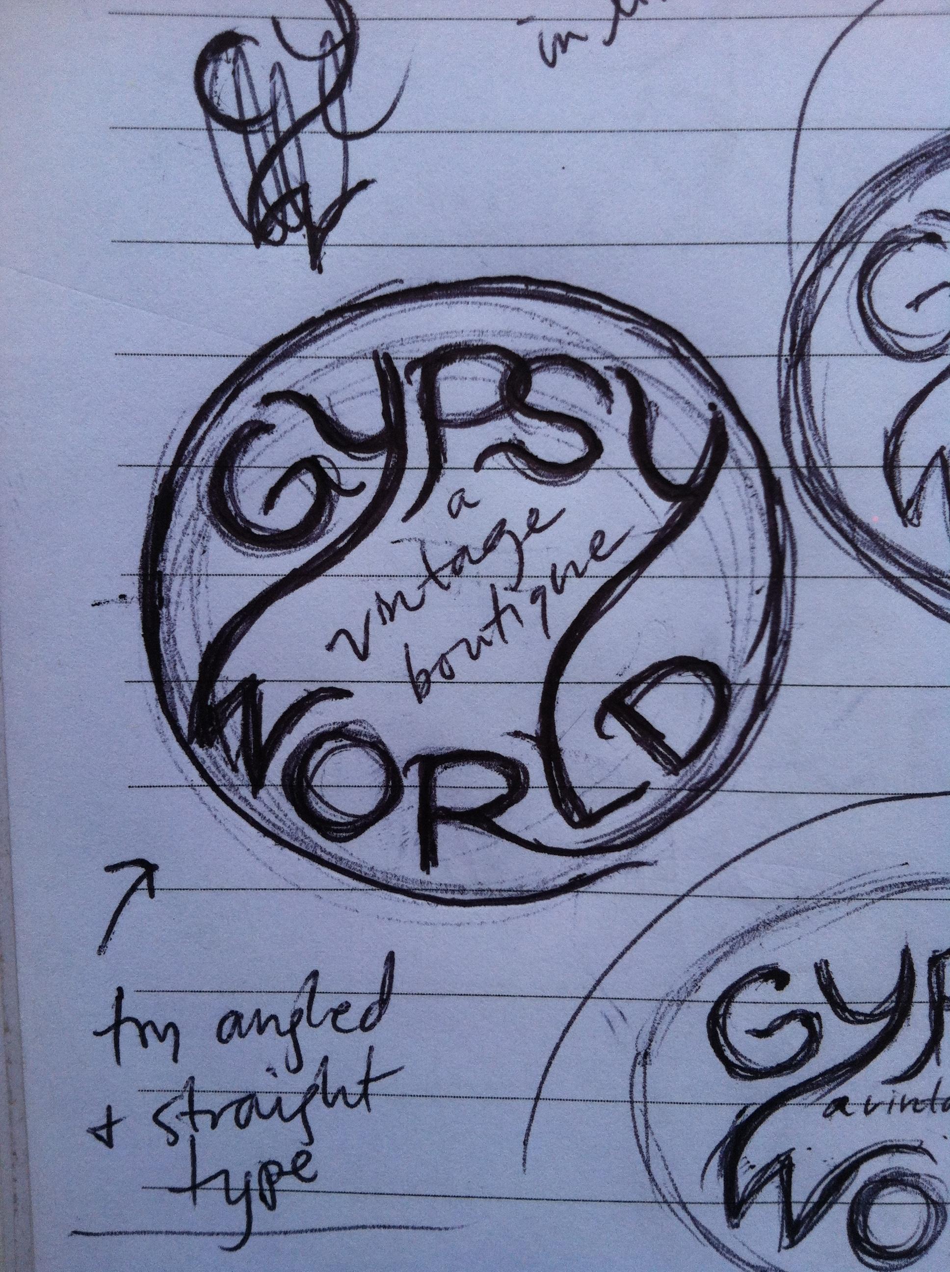 Gypsy World logo sketch