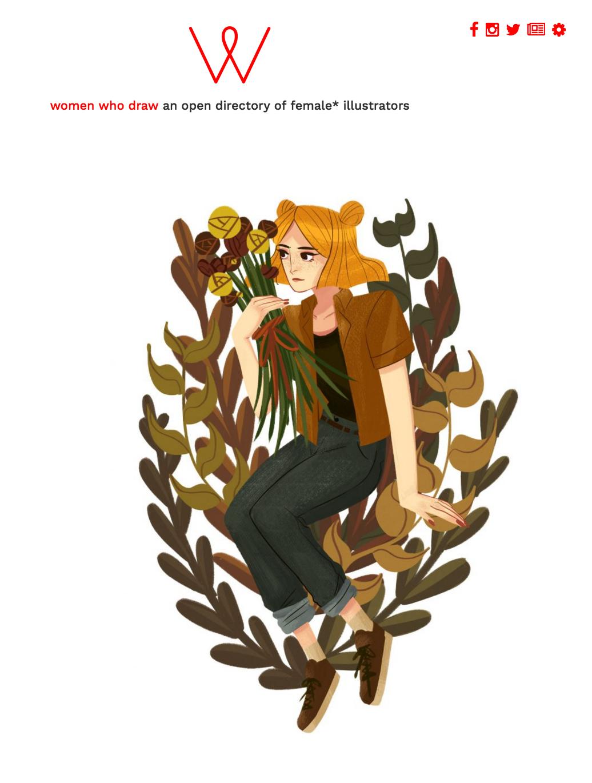 Illustration by Kaisha Gwynn,featured on  Women Who Draw