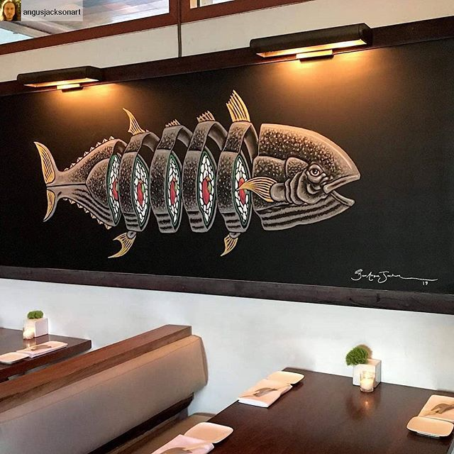 🔥 #shoutout @angusjacksonart  With his newly completed fish for @uchikoaustin!  You can see the real thing hanging @ 4200 N Lamar, ATX and enjoy some delicious food while you're there! . #uchiko #austintexas #sushi #austinart #austinartists #arts_secret #arttherapy #art_collective