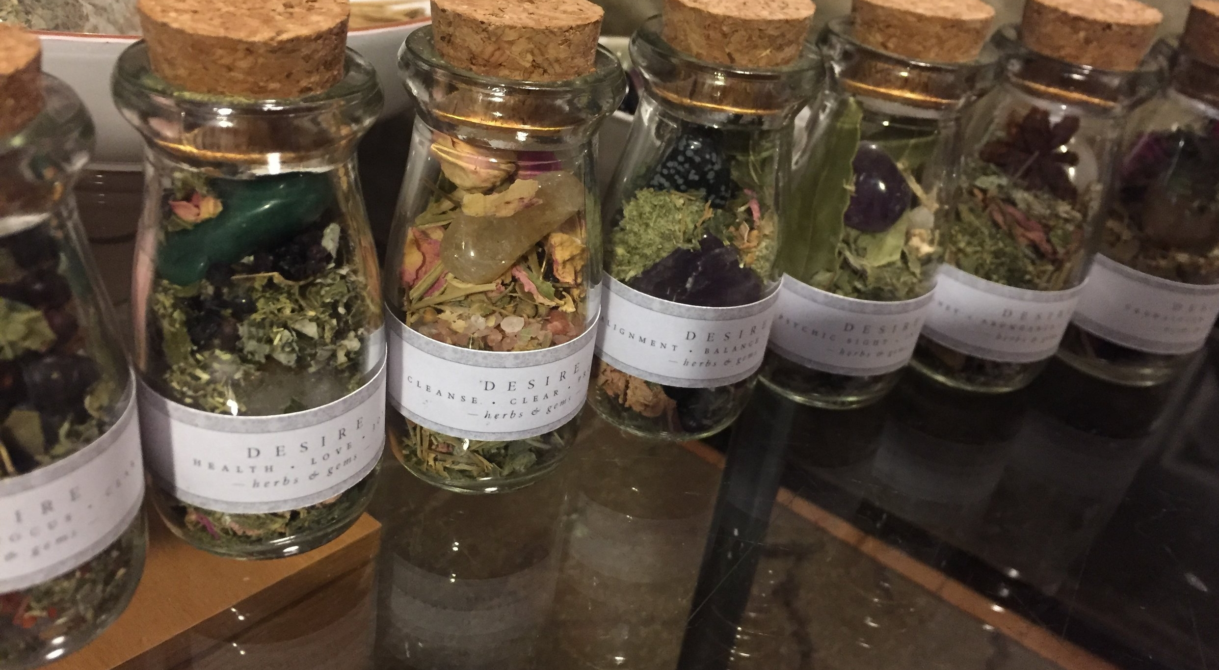 Seven Magical blends crafted with intention, love and permission by Bean of the Fields