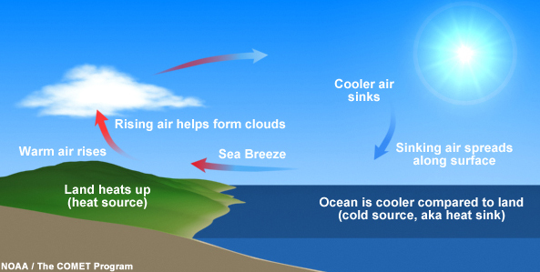 Can you reconstruct a chain of events that produces a sea breeze?