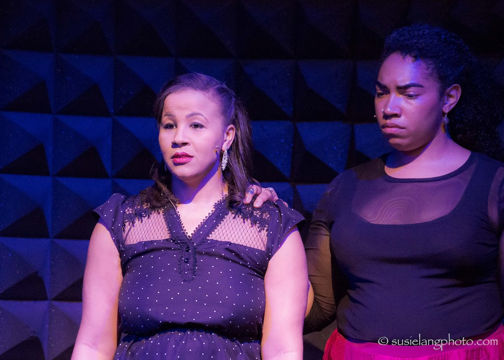 Anya Pearson and Aleca Piper. Showcase Production of Made to Dance in Burning Buildings, Joe's Pub at The Public Theater, April 2018. Photo by Susie Lang.