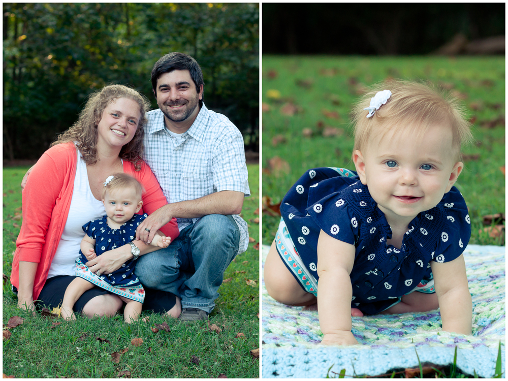 Clemmons family photographer, on the left a portrait of a mother and father with the baby daughter sitting in the grass, on the right a baby in a navy dress crawling on the grass and smiling