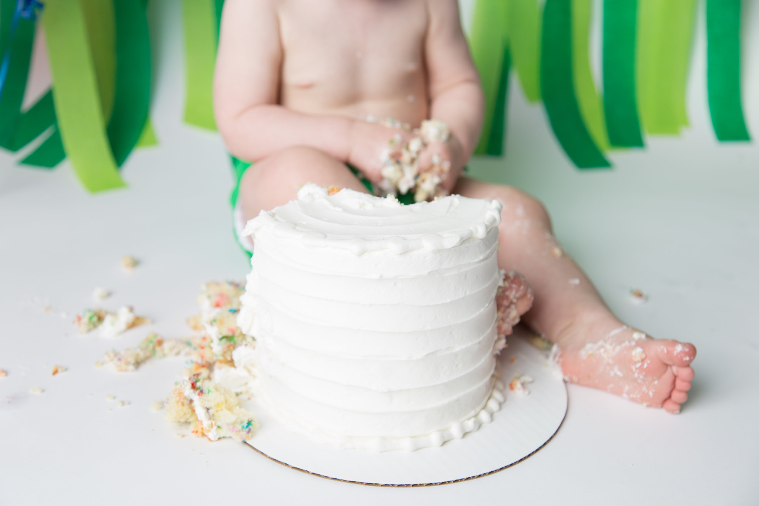 Cake Smash - A 30 minute session in our studio.You bring the cake (or other creative and/or edible art product), and we'll clean the mess!Streamers, balloons, and other one-time-use decor can be added at an additional rate. Plain white backdrop/floordrop is included.
