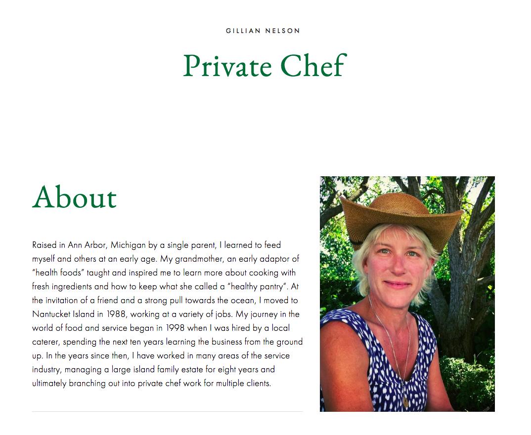 Gillian Nelson   private chef