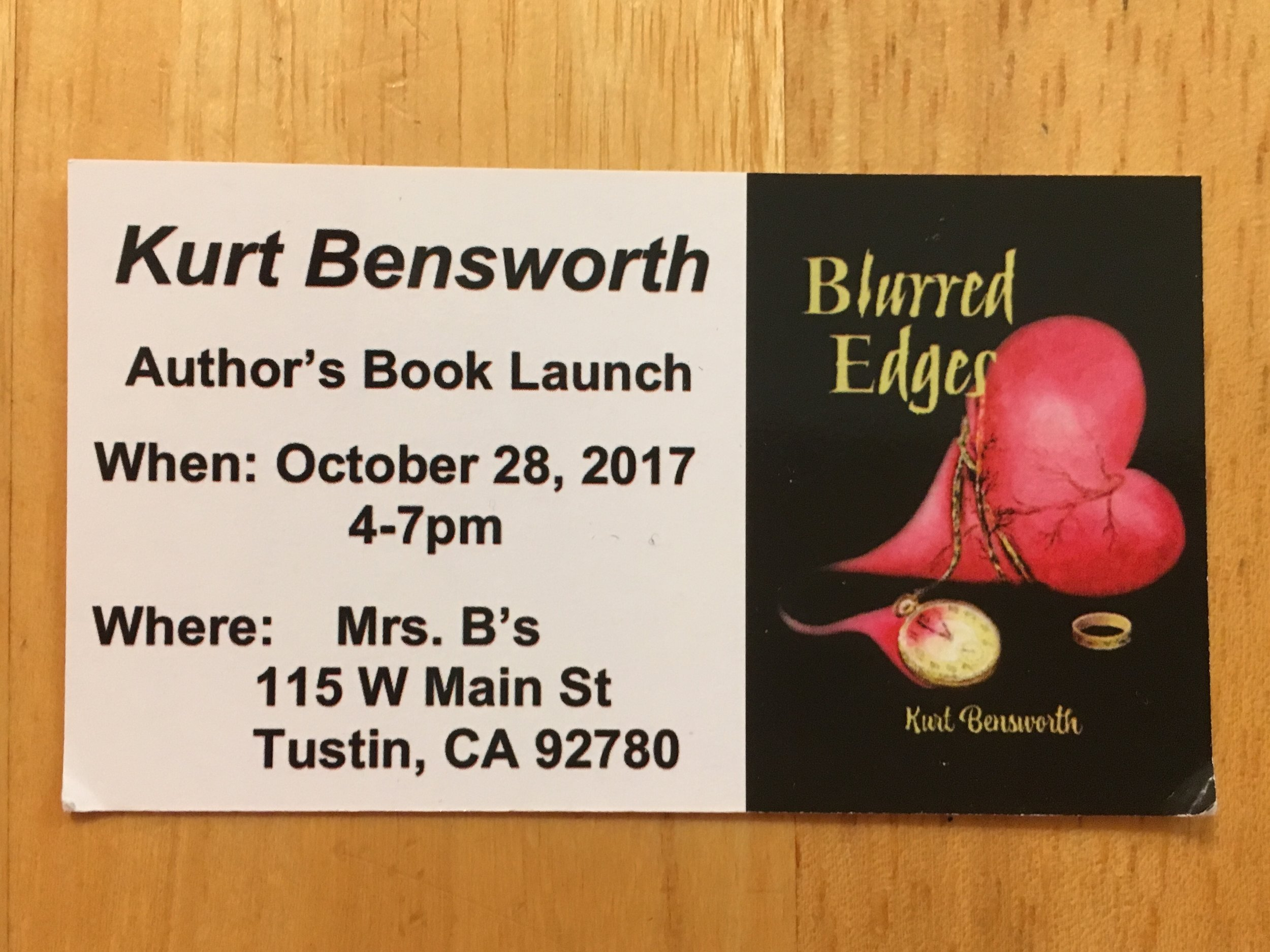 Kurt is a fellow Orange County writer and a great friend. He is also part of the upcoming e-book box set,  Strange Impulses . Come out and celebrate the publication of his second book,  Blurred Edges . Scarf down some food and wine, stay a while and chat.