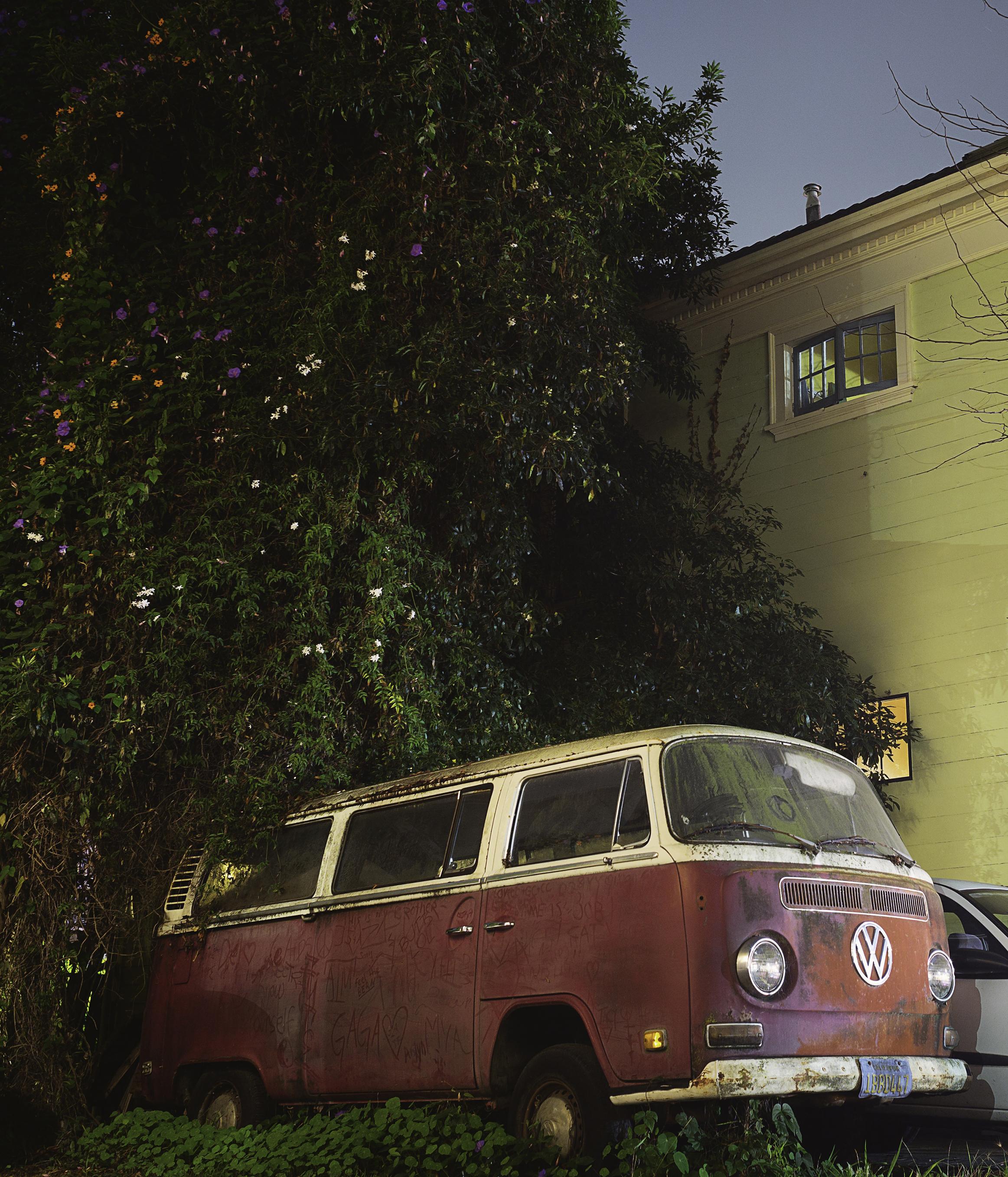 Red VW bus below a christmas tree.jpg