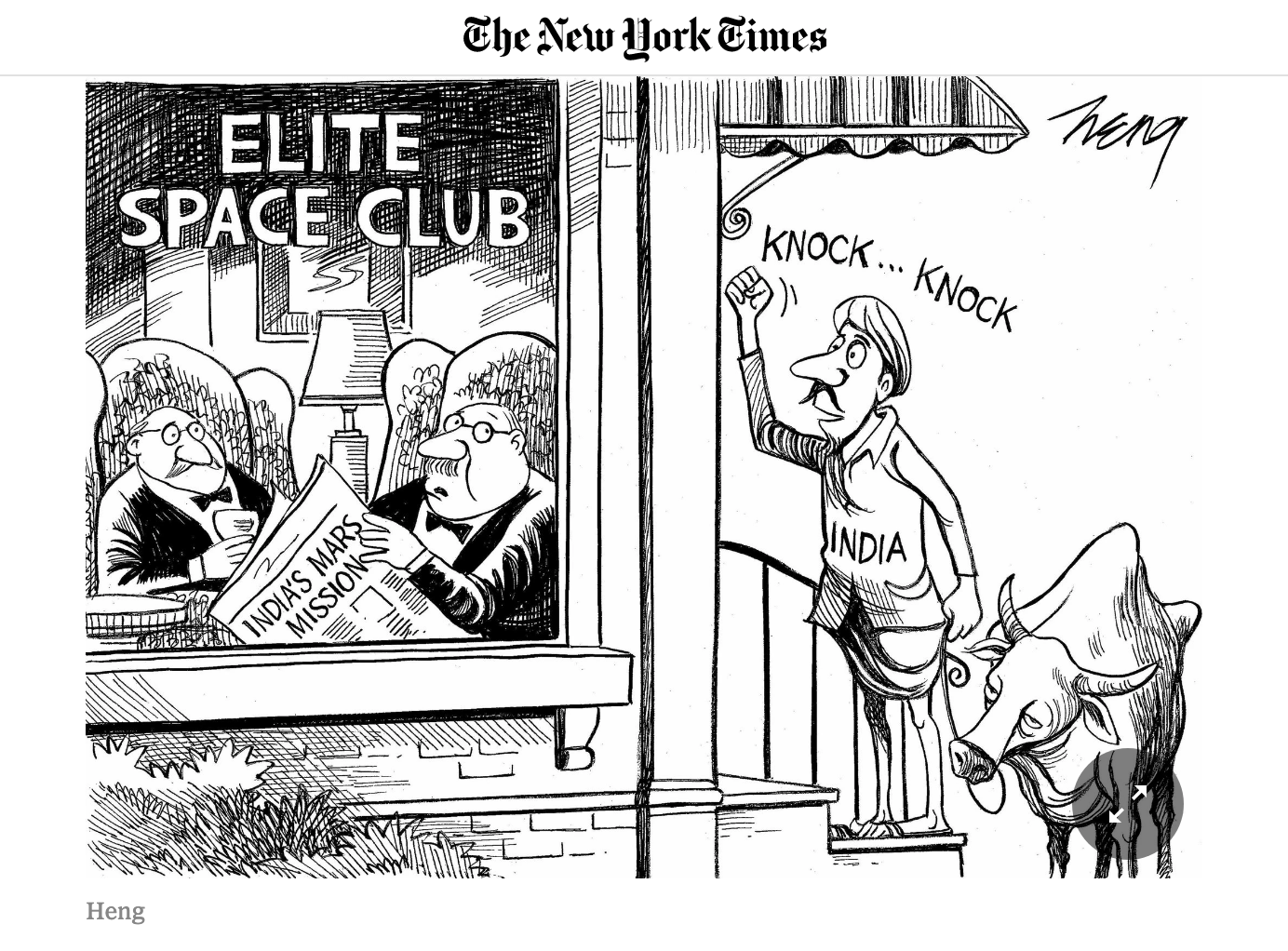 New York Times published this elitist cartoon referring to India's space mission