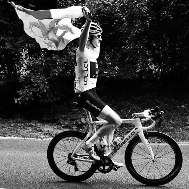 #epic #tourdefrance well done @geraintthomas86 loved the mic drop #cycling