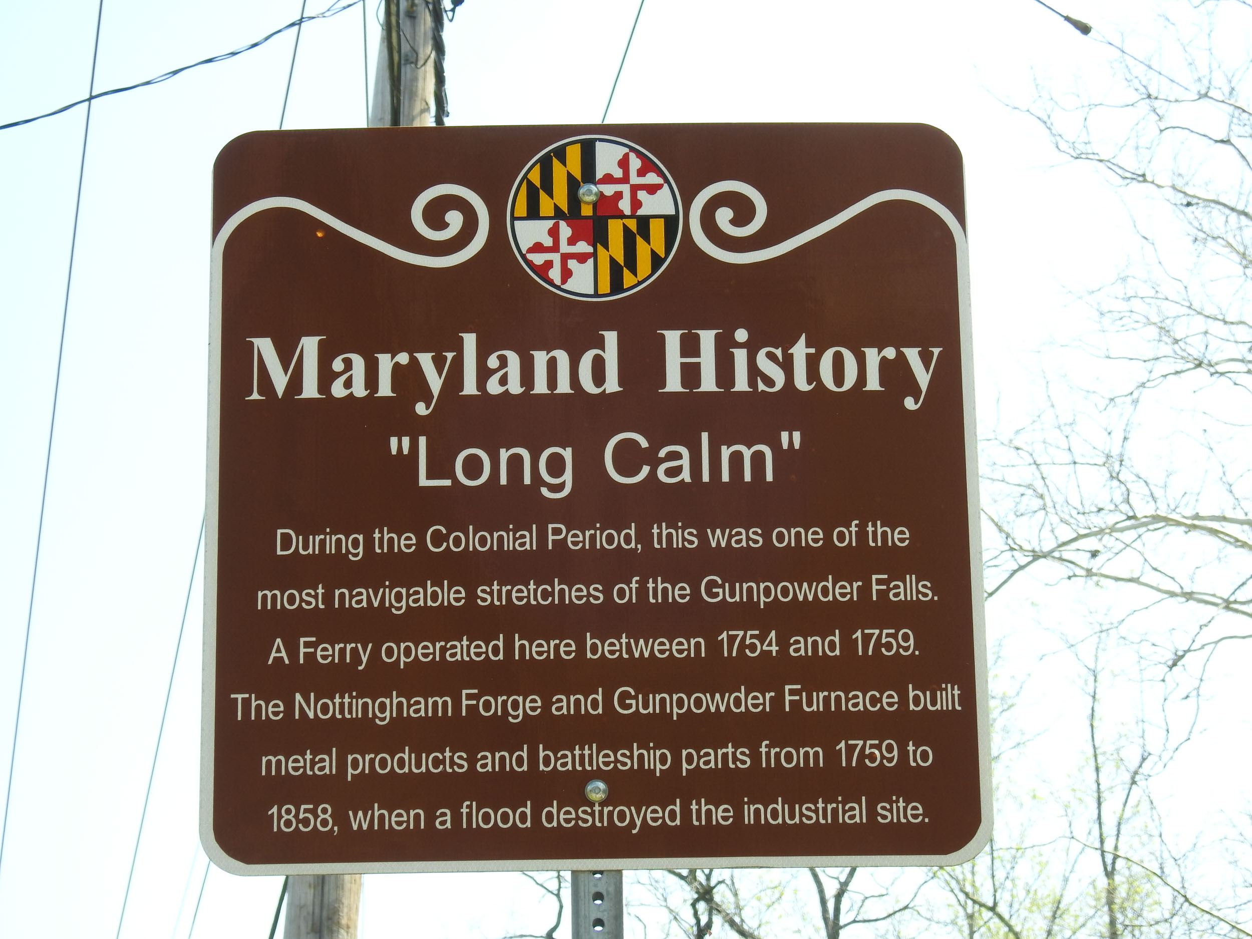 Long Calm historical marker on Philadelphia Road near Forge Road, White Marsh, Maryland.