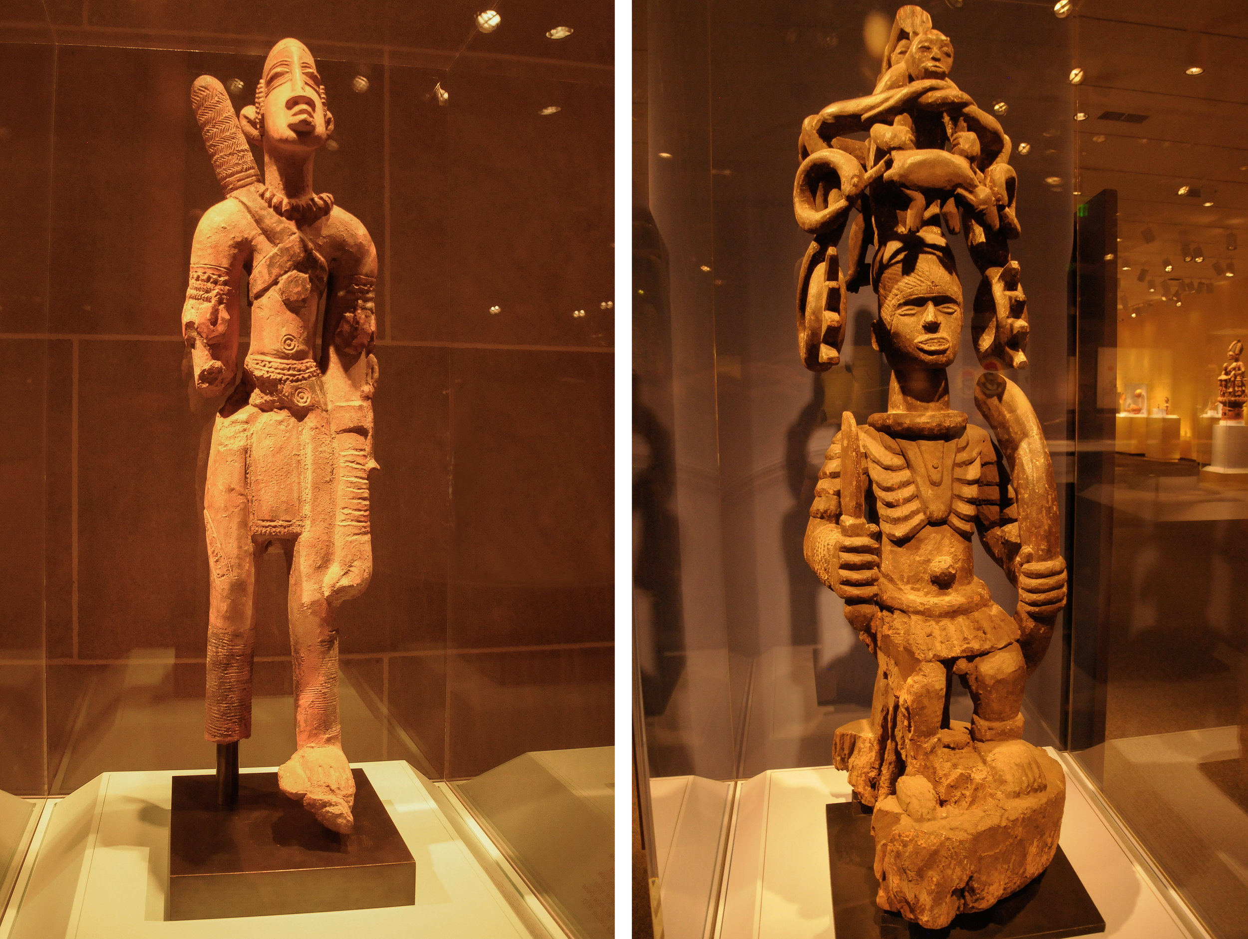 Left: Archer Figure, 13th to 15th Century, Inland Niger Delta style ceramic, Mali Right: Shrine Figure, Mid 20th Century, Igbo artist, Southeastern Nigeria Smithsonian National Museum of African Art Photo: Rose Anderson
