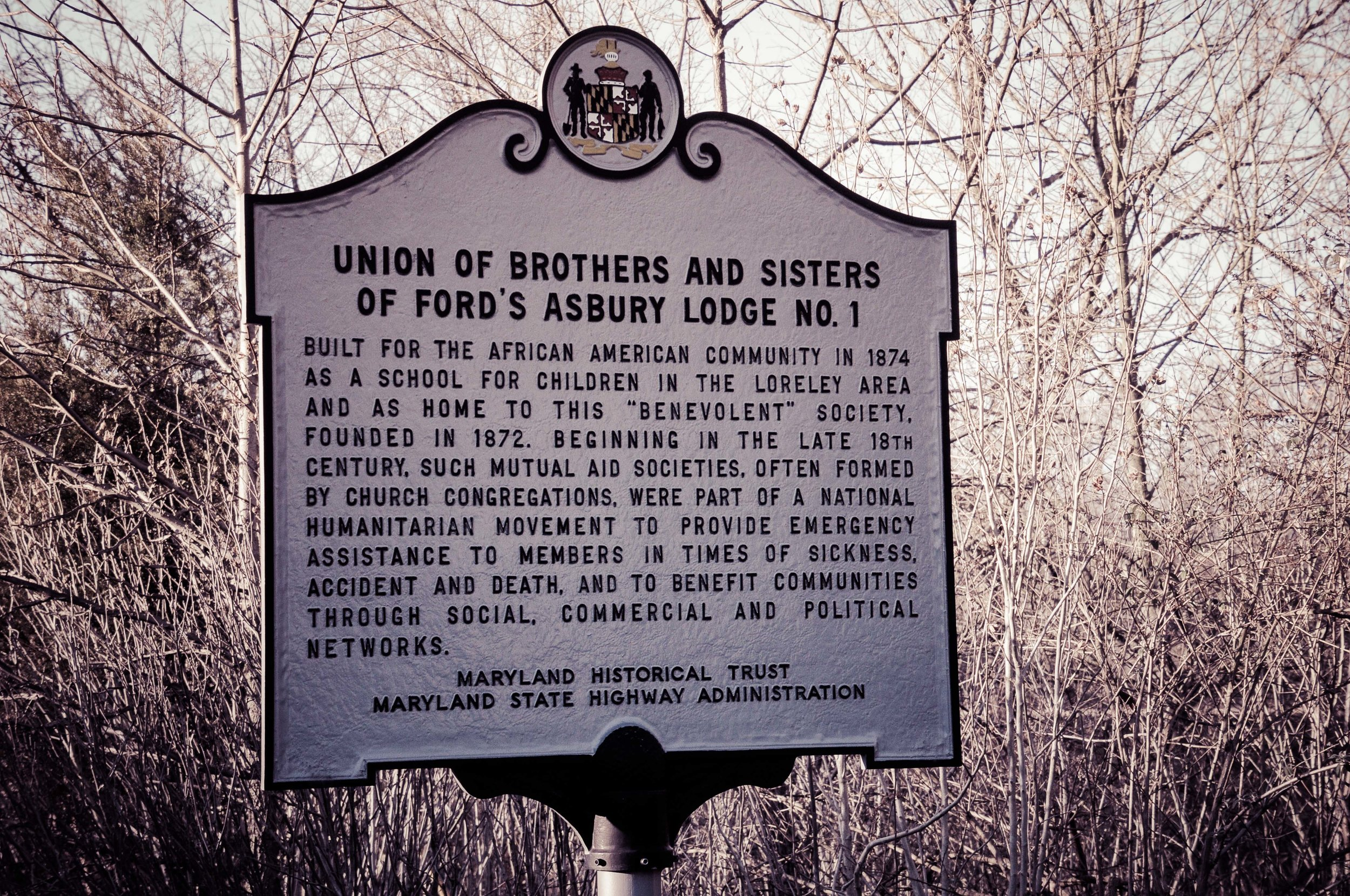 Historical marker for Union of Brothers and Sisters Lodge Photo: Rose Anderson, 2019