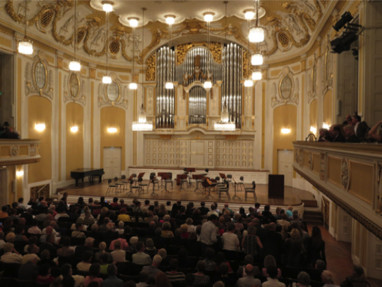 The beautiful Grosser Saal of the Stiftung Mozarteum Salzburg ...