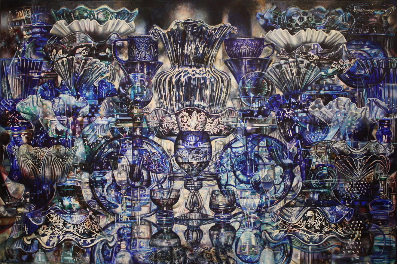 Set Table (Blue),  acrylic on canvas, 66x44in, 2014