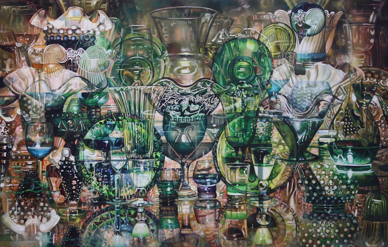 Set Table (Green) , oil on canvas, 54x35in, 2014