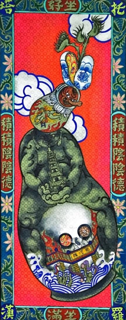 圖4:黃昱斌,〈托塔羅漢〉局部。