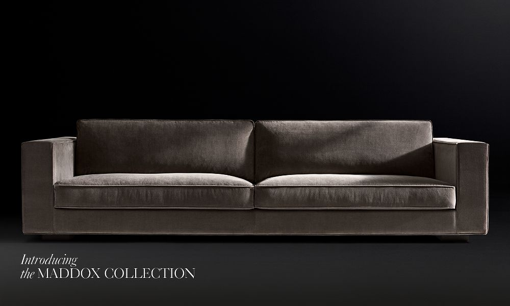This Maddox upholstered sofa has broad arms and crisp, clean lines that are bold and powerful. There are six fabrics to choose from and many different colors – the fabric that best suits this look is the vintage velvet, and the color is graphite.   MADDOX UPHOLSTERED SOFA
