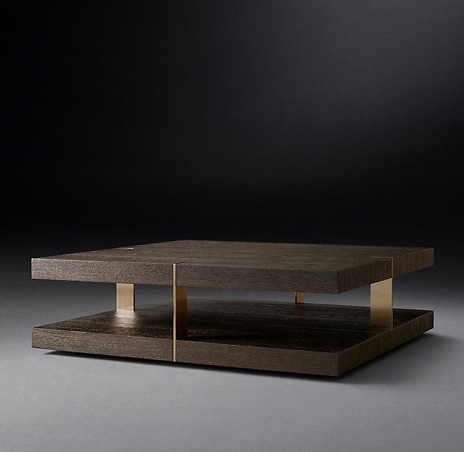 This American white oak coffee table is the final key item in this design. I absolutely LOVE this coffee table because it creates an extraordinary level of curiosity as you move around it. As you view it from different angles, at one glance you'll perceive thin, linear elements and from another you'll see them as thick, flat planes. This coffee table will create a unique, unparalleled level of luxury in your space. To top it off, the burnished brass finish adds an exquisite touch of gold that breaks up the dark, muted tones and brings the perfect amount of excitement into the room.   VERRAZANO SQUARE COFFEE TABLE