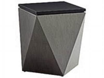 This end table and Its unique shape is certain to draw the eye, while the platinum gray facets tie back beautifully to the upholstery frames.   OUTDOOR DEL MAR ACCENT TABLE
