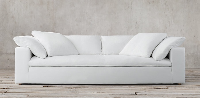 The ultimate personal oasis sofa, combining ultra modern with mid-century design, the comfort of this couch is simply unparalleled. You will sink-in, and feel like you're in a cloud with it's 100% goose feather cushions wrapped in the softest layer of pure down.   CLOUD TRACK ARM FABRIC SOFA