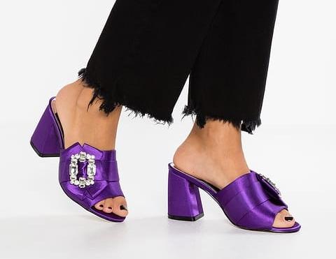 River Island purple satin heeled sandals Pantone ultra violet 2018 Rhoyally Chic uk style blogger