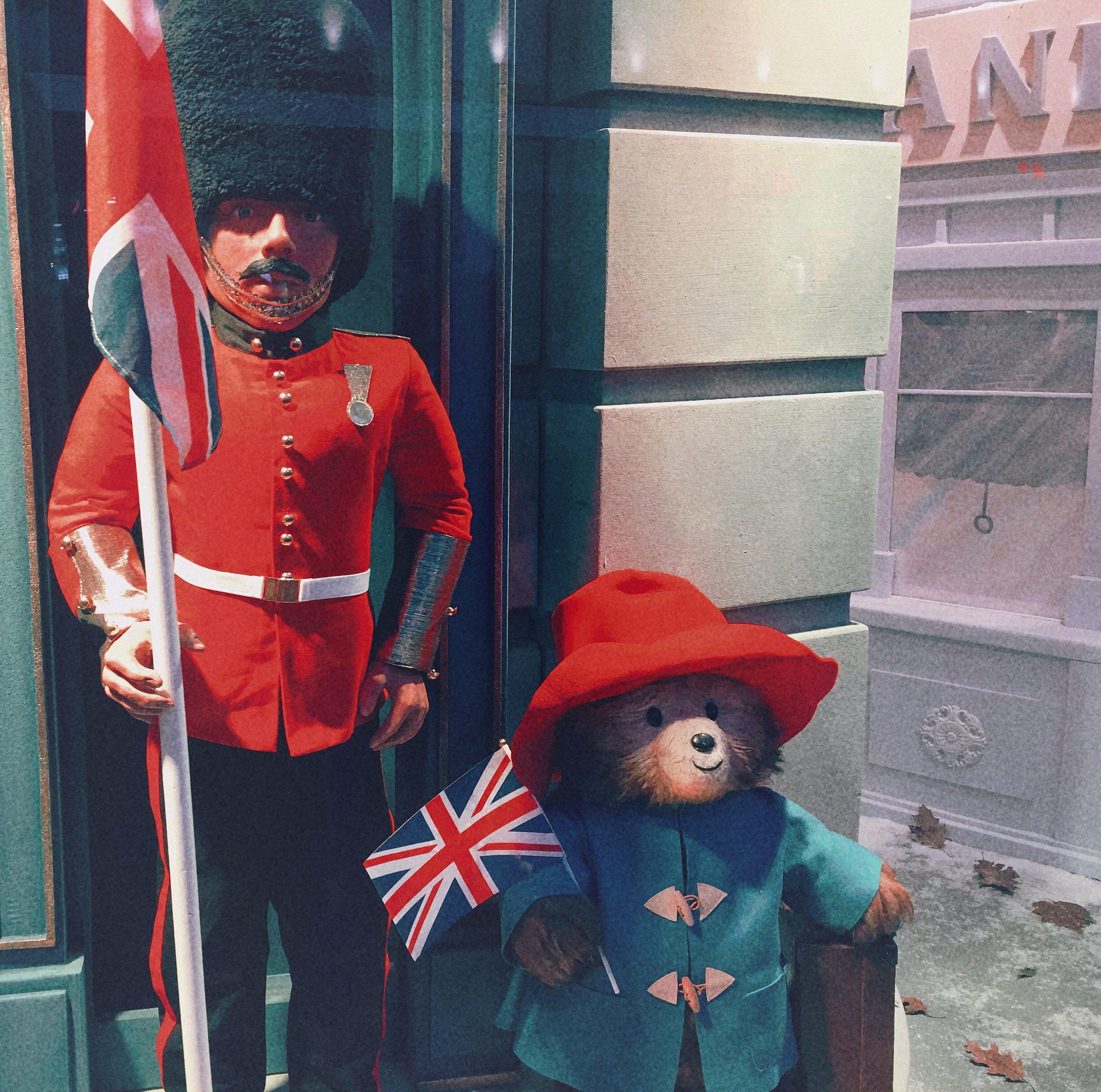 Paddington Bear English Palace Guard United Kingdom Fenwick Department Store Christmas Window