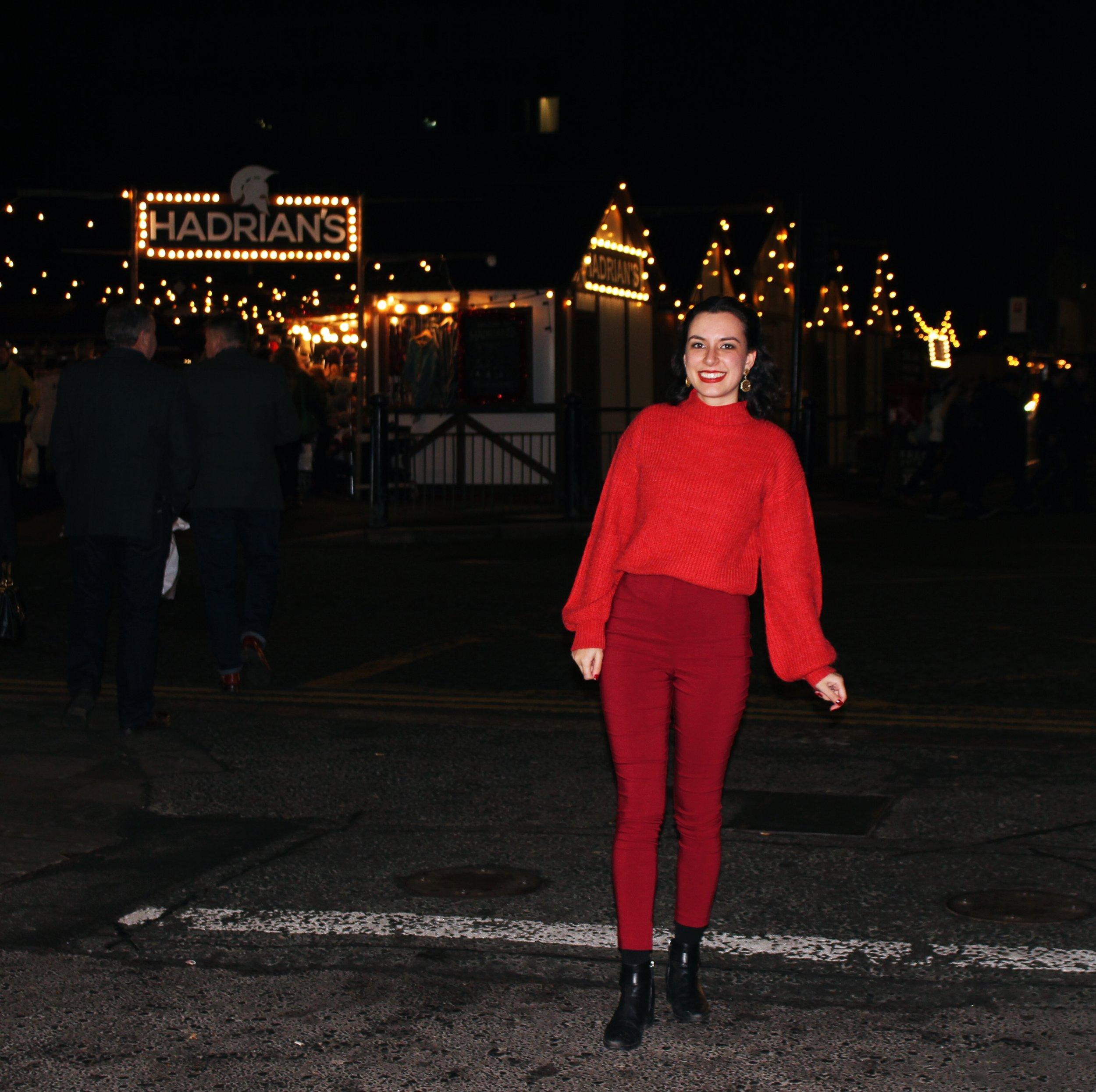 Newcastle Christmas Market Fashion Union Zalando Jumper Asos Red Trousers Rhoyally Chic UK Fashion Blogger